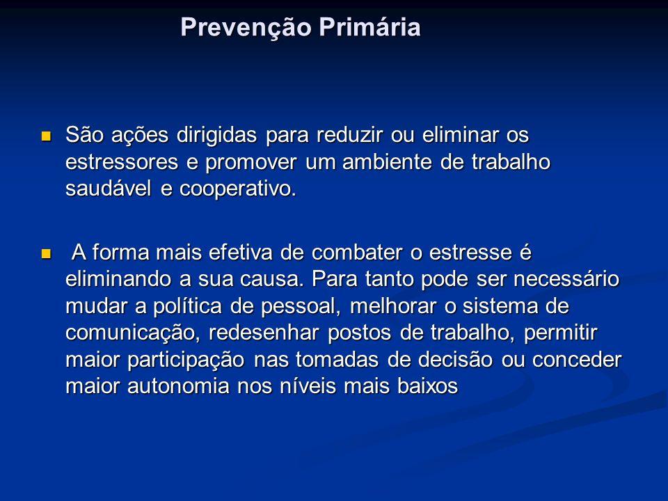Prevenção Primária São ações dirigidas para reduzir ou eliminar os estressores e promover um ambiente de trabalho saudável e cooperativo.