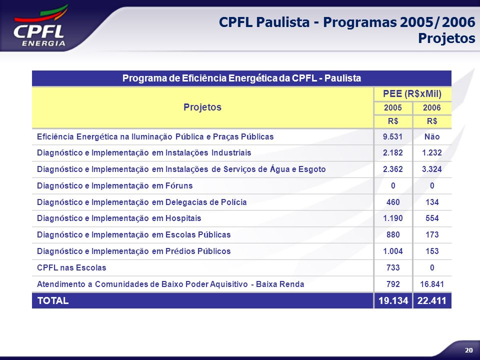 CPFL Paulista - Programas 2005/2006 Projetos