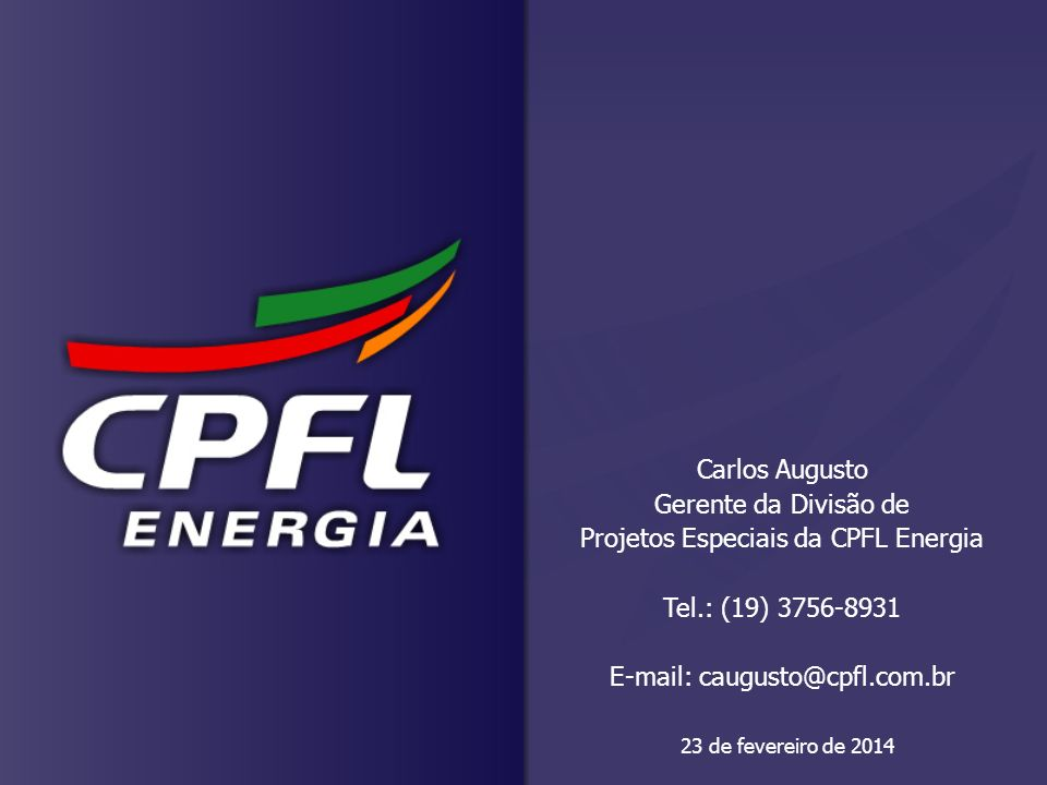 Projetos Especiais da CPFL Energia Tel.: (19) 3756-8931