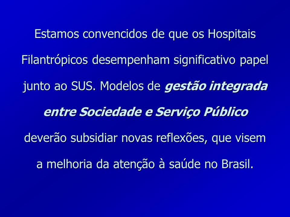 Estamos convencidos de que os Hospitais Filantrópicos desempenham significativo papel junto ao SUS.