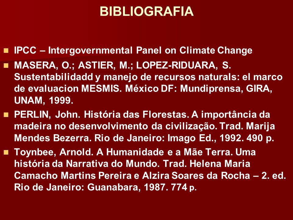 BIBLIOGRAFIA IPCC – Intergovernmental Panel on Climate Change