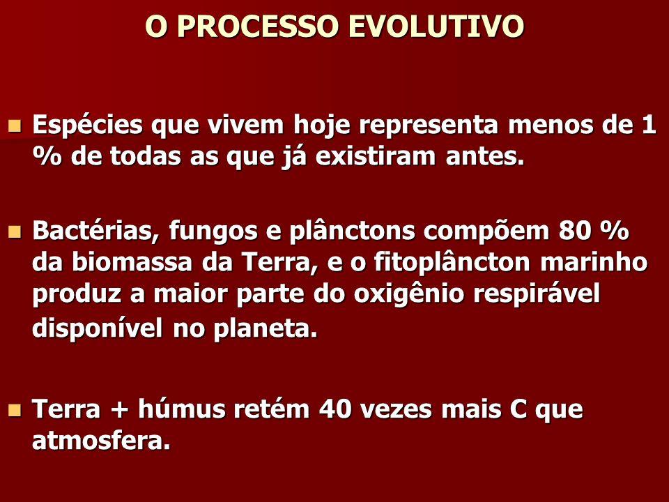 O PROCESSO EVOLUTIVO Espécies que vivem hoje representa menos de 1 % de todas as que já existiram antes.