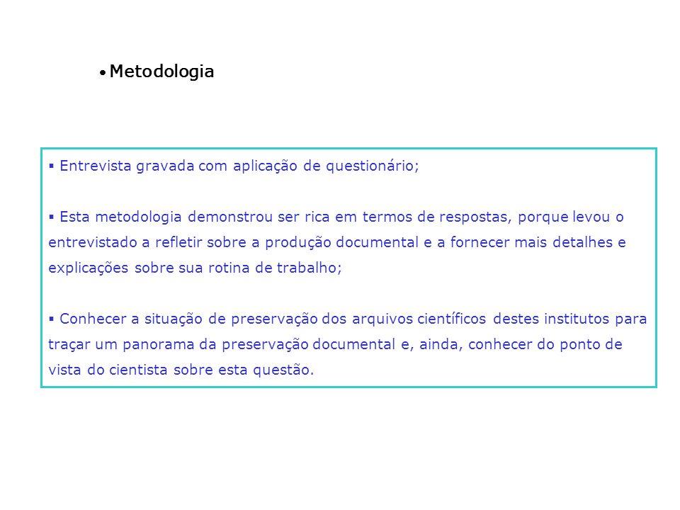 · Metodologia Entrevista gravada com aplicação de questionário;