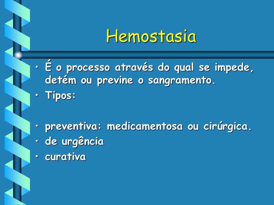 Hemostasia É o processo através do qual se impede, detém ou previne o sangramento. Tipos: preventiva: medicamentosa ou cirúrgica.