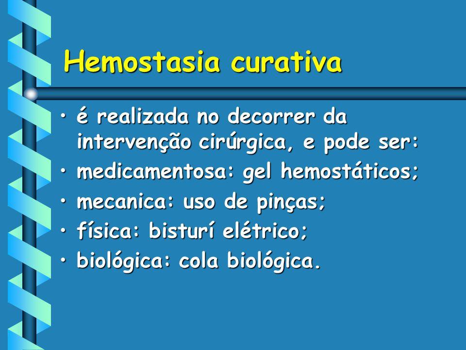 Hemostasia curativa é realizada no decorrer da intervenção cirúrgica, e pode ser: medicamentosa: gel hemostáticos;