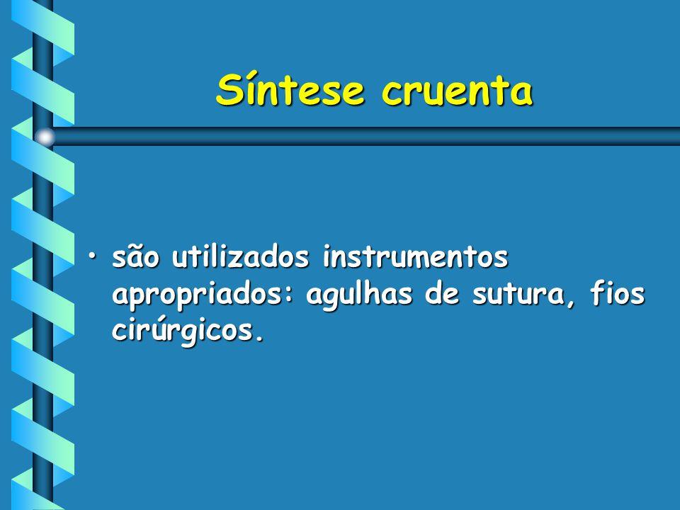 Síntese cruenta são utilizados instrumentos apropriados: agulhas de sutura, fios cirúrgicos.