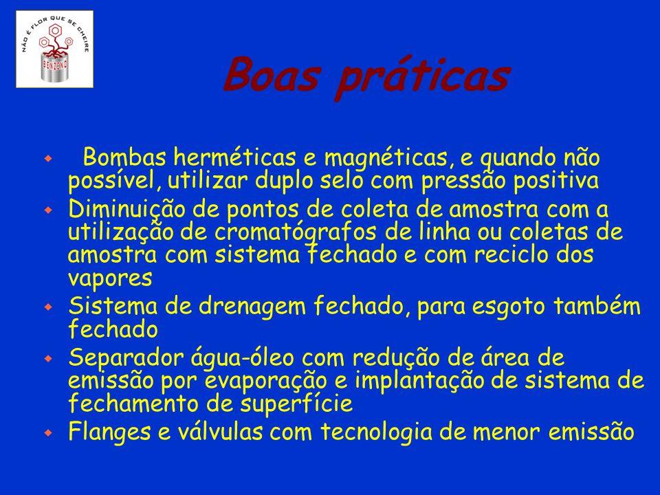 Boas práticas Bombas herméticas e magnéticas, e quando não possível, utilizar duplo selo com pressão positiva.