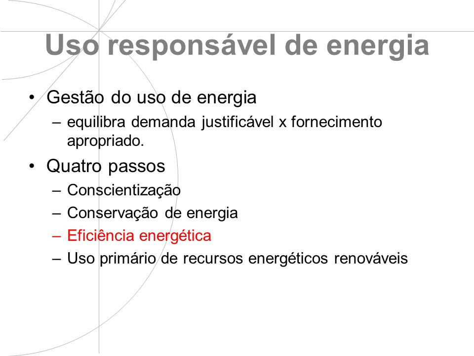 Uso responsável de energia