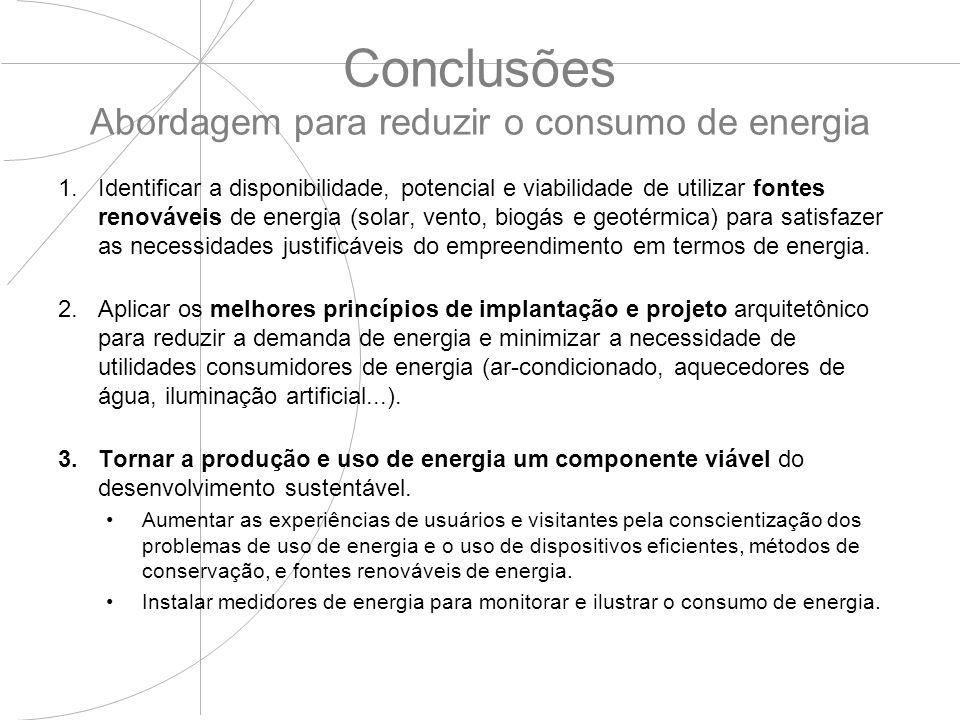 Conclusões Abordagem para reduzir o consumo de energia