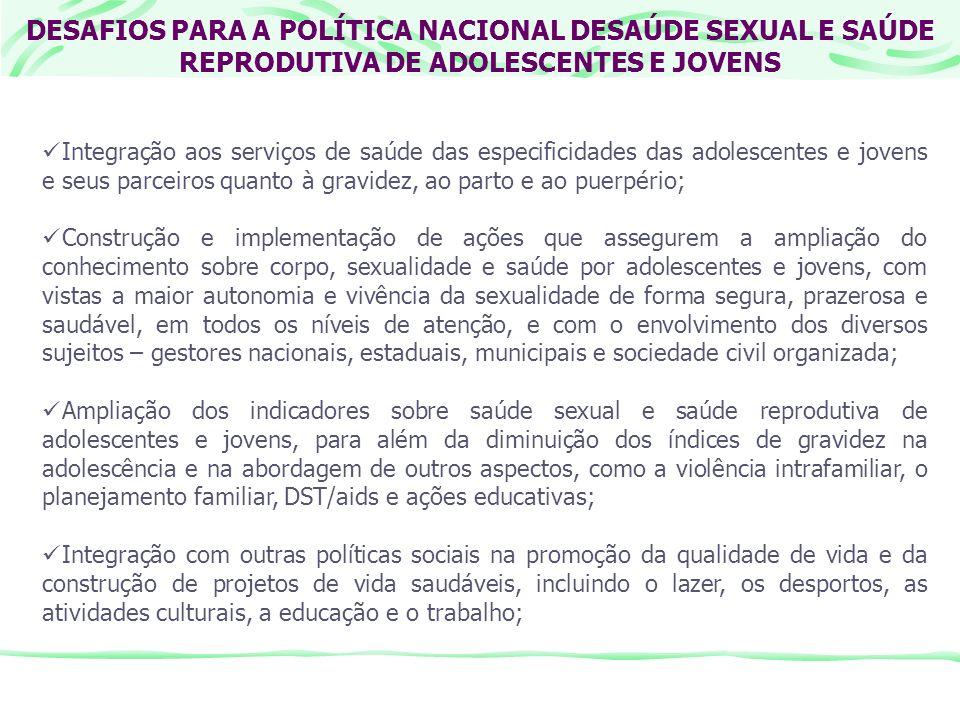 DESAFIOS PARA A POLÍTICA NACIONAL DESAÚDE SEXUAL E SAÚDE REPRODUTIVA DE ADOLESCENTES E JOVENS