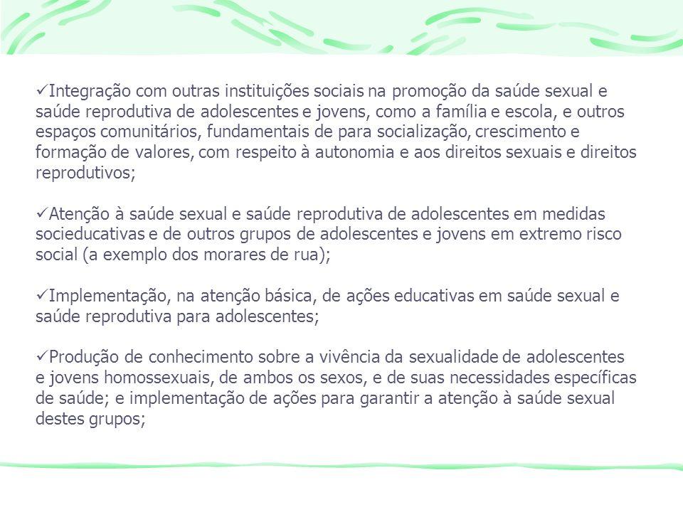 Integração com outras instituições sociais na promoção da saúde sexual e saúde reprodutiva de adolescentes e jovens, como a família e escola, e outros espaços comunitários, fundamentais de para socialização, crescimento e formação de valores, com respeito à autonomia e aos direitos sexuais e direitos reprodutivos;