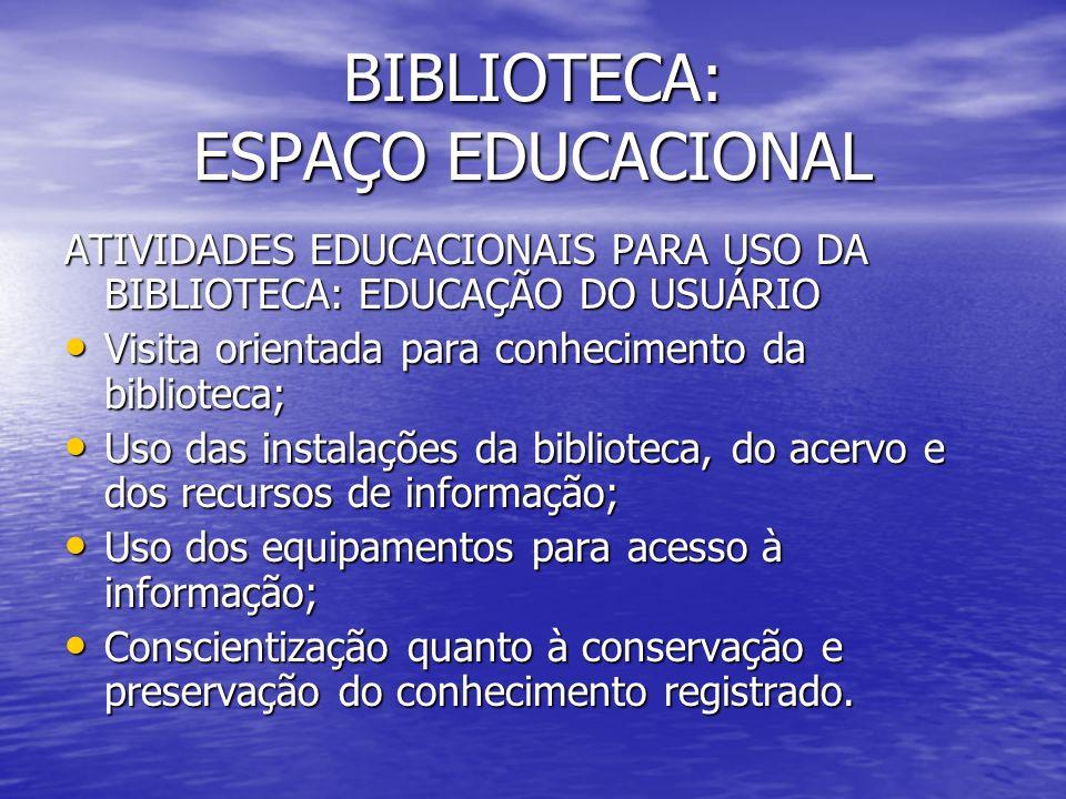 BIBLIOTECA: ESPAÇO EDUCACIONAL
