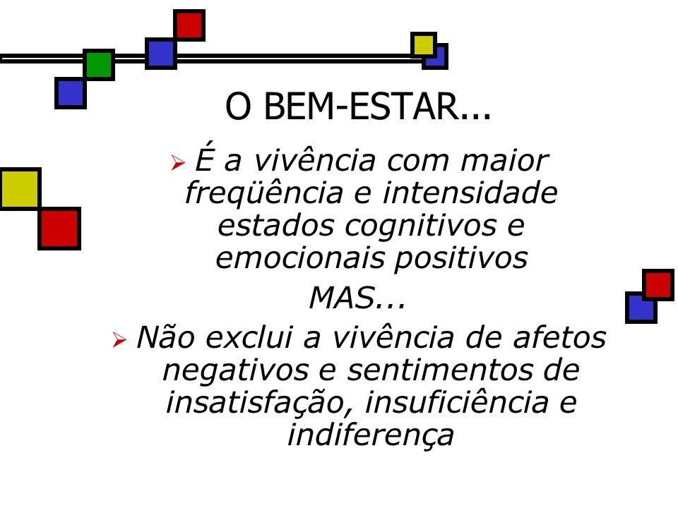 O BEM-ESTAR... É a vivência com maior freqüência e intensidade estados cognitivos e emocionais positivos.