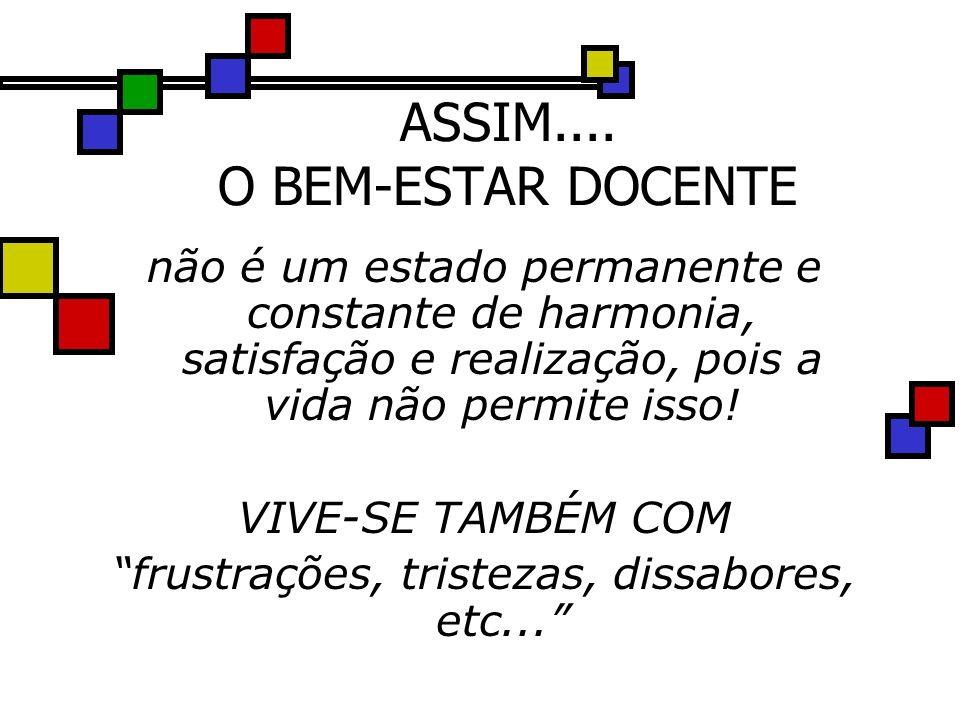 ASSIM.... O BEM-ESTAR DOCENTE