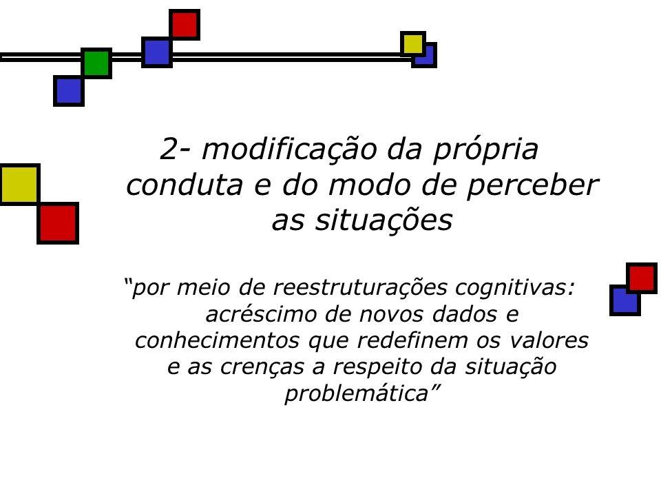 2- modificação da própria conduta e do modo de perceber as situações