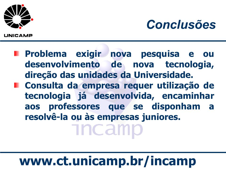 Conclusões Problema exigir nova pesquisa e ou desenvolvimento de nova tecnologia, direção das unidades da Universidade.