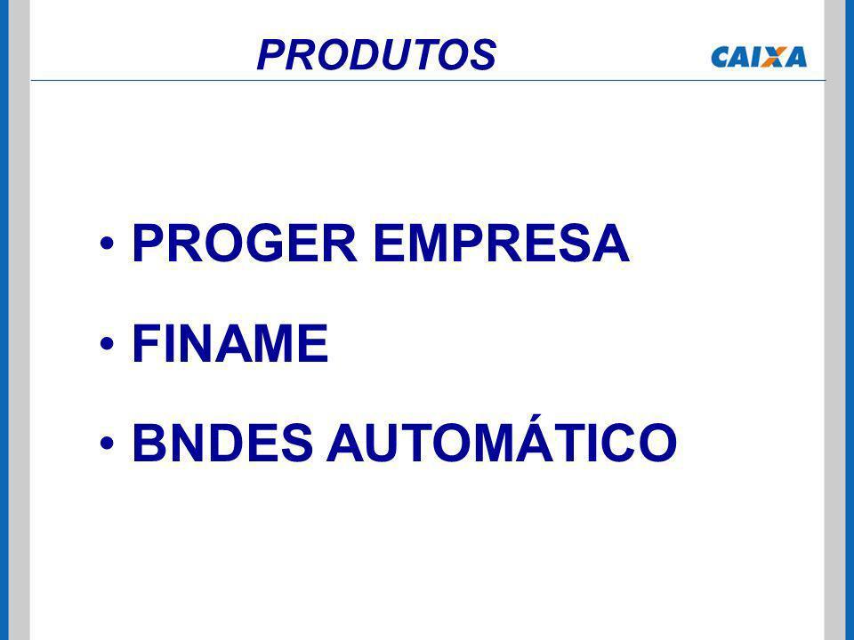 PRODUTOS PROGER EMPRESA FINAME BNDES AUTOMÁTICO