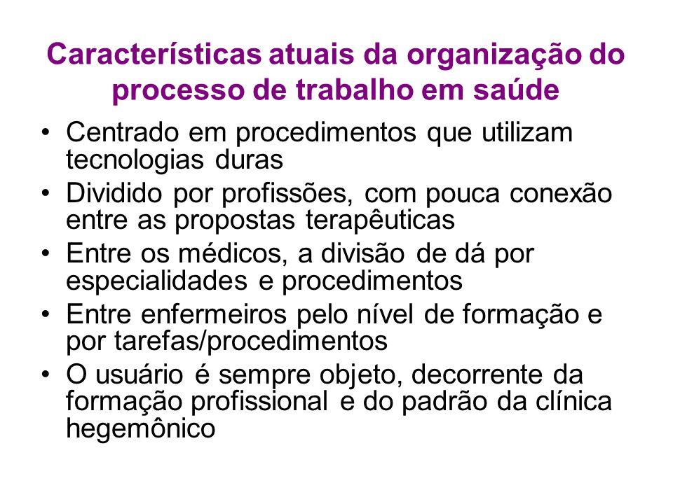 Características atuais da organização do processo de trabalho em saúde