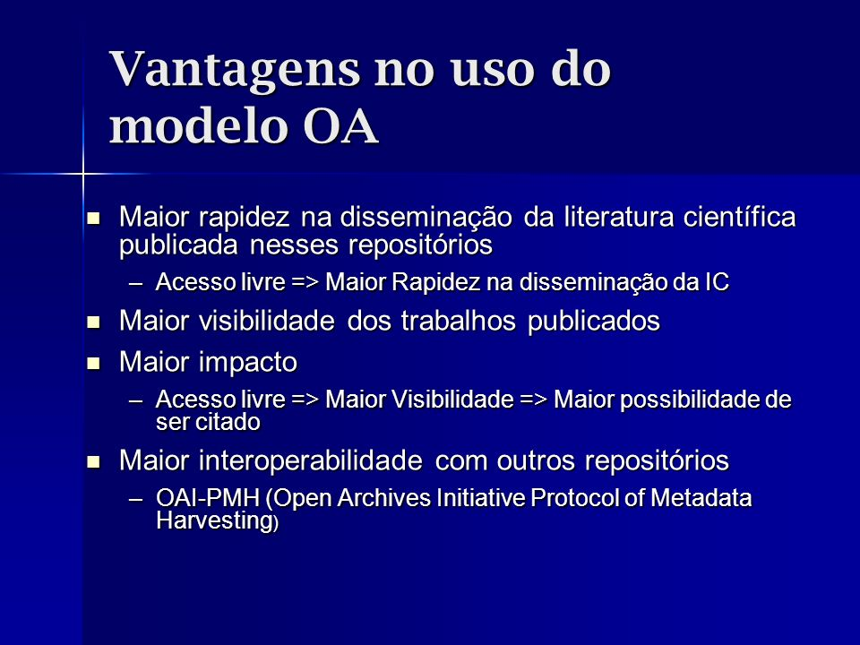 Vantagens no uso do modelo OA