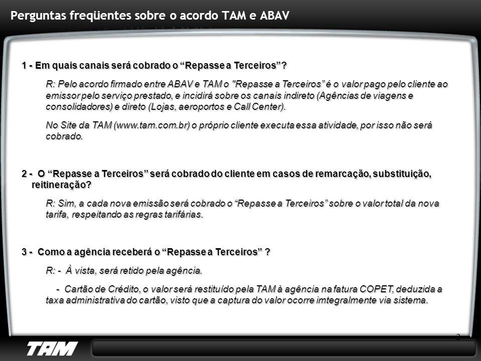Perguntas freqüentes sobre o acordo TAM e ABAV