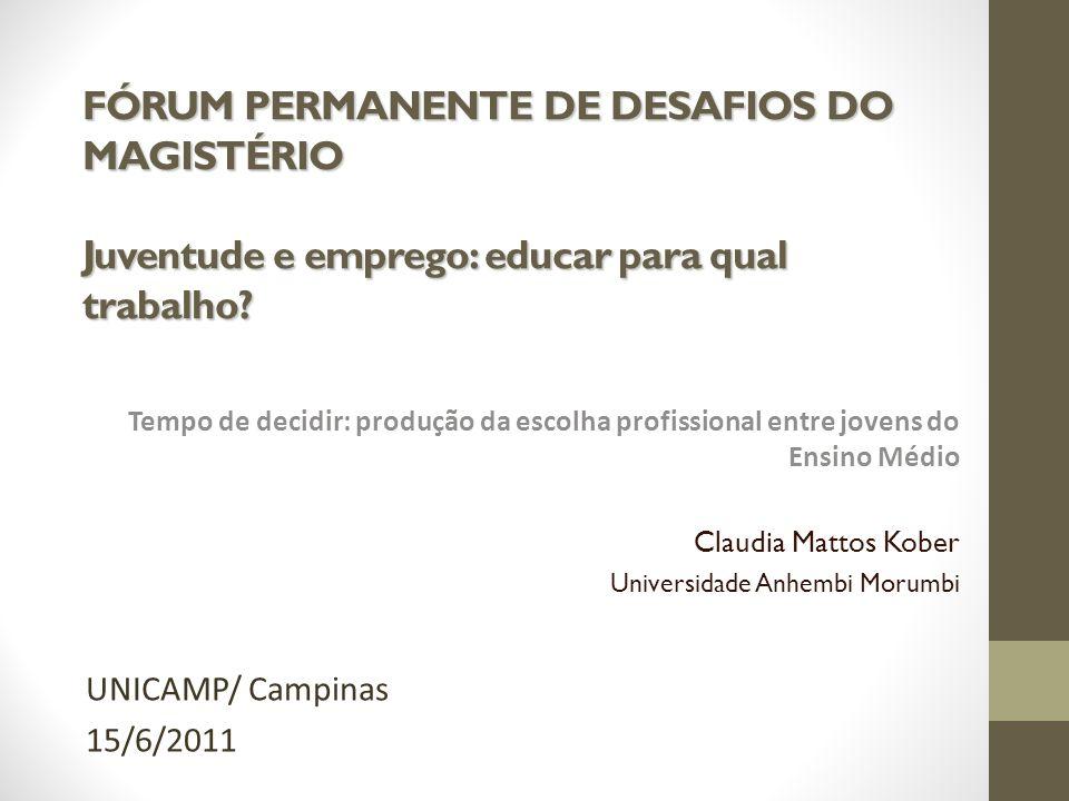 FÓRUM PERMANENTE DE DESAFIOS DO MAGISTÉRIO Juventude e emprego: educar para qual trabalho