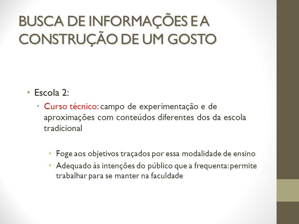 BUSCA DE INFORMAÇÕES E A CONSTRUÇÃO DE UM GOSTO