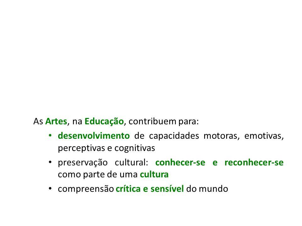 As Artes, na Educação, contribuem para: