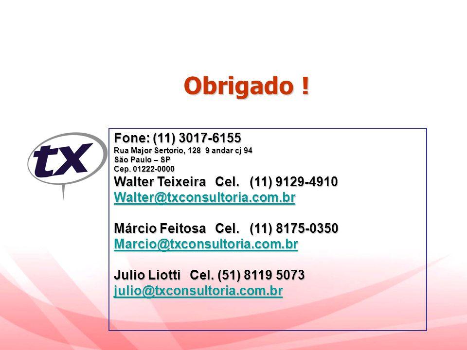 Obrigado ! Fone: (11) 3017-6155 Walter Teixeira Cel. (11) 9129-4910