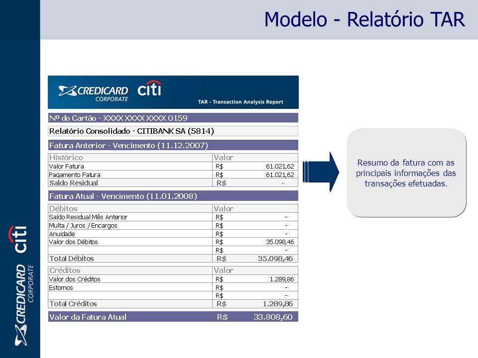 Modelo - Relatório TAR Resumo da fatura com as principais informações das transações efetuadas.