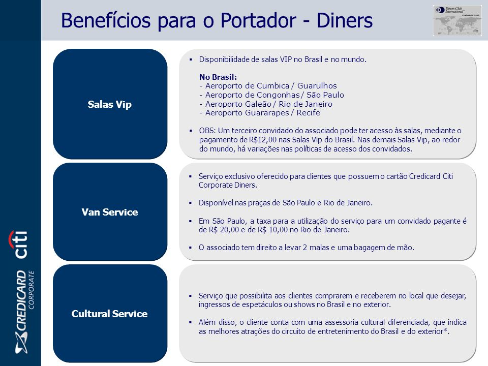 Benefícios para o Portador - Diners