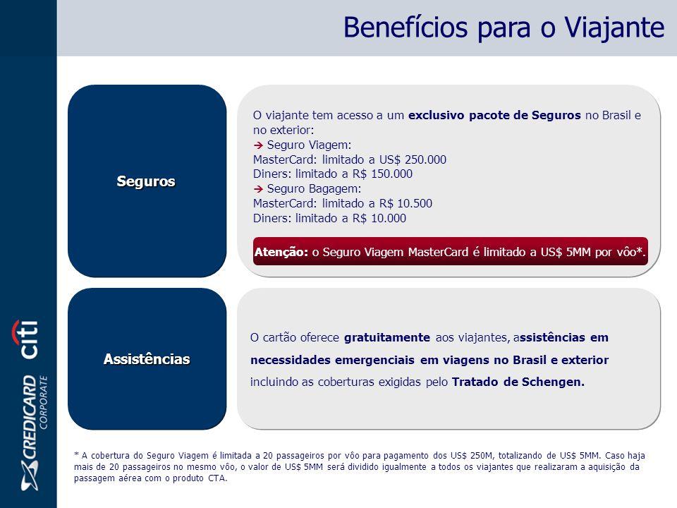 Atenção: o Seguro Viagem MasterCard é limitado a US$ 5MM por vôo*.