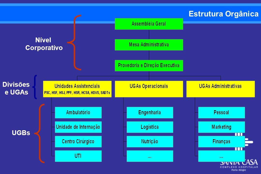 Estrutura Orgânica Nível Corporativo Divisões e UGAs UGBs