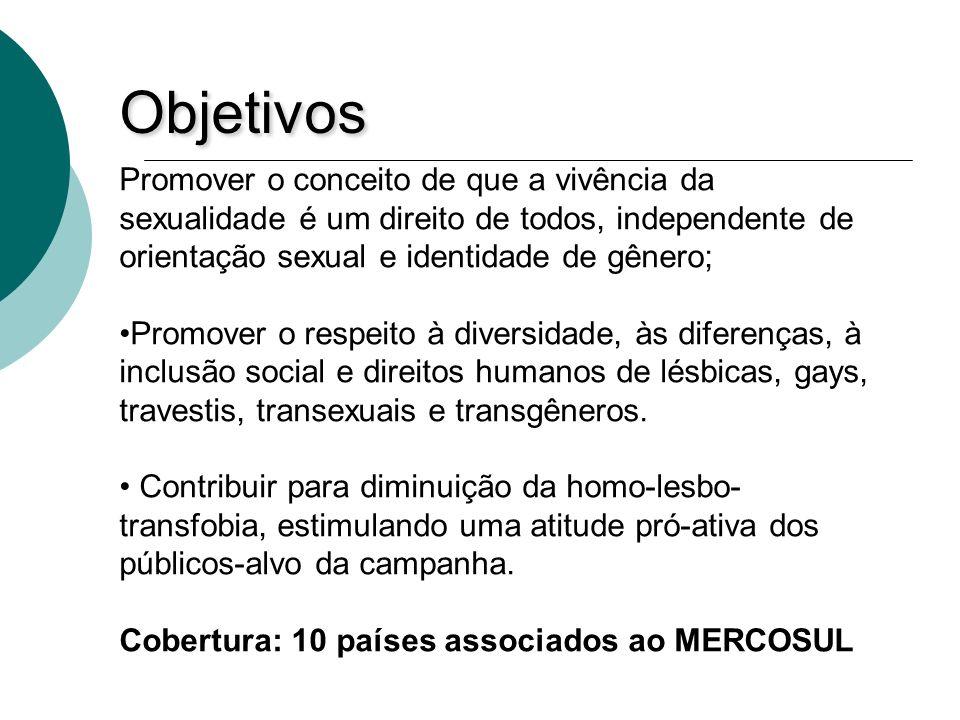Objetivos Promover o conceito de que a vivência da sexualidade é um direito de todos, independente de orientação sexual e identidade de gênero;
