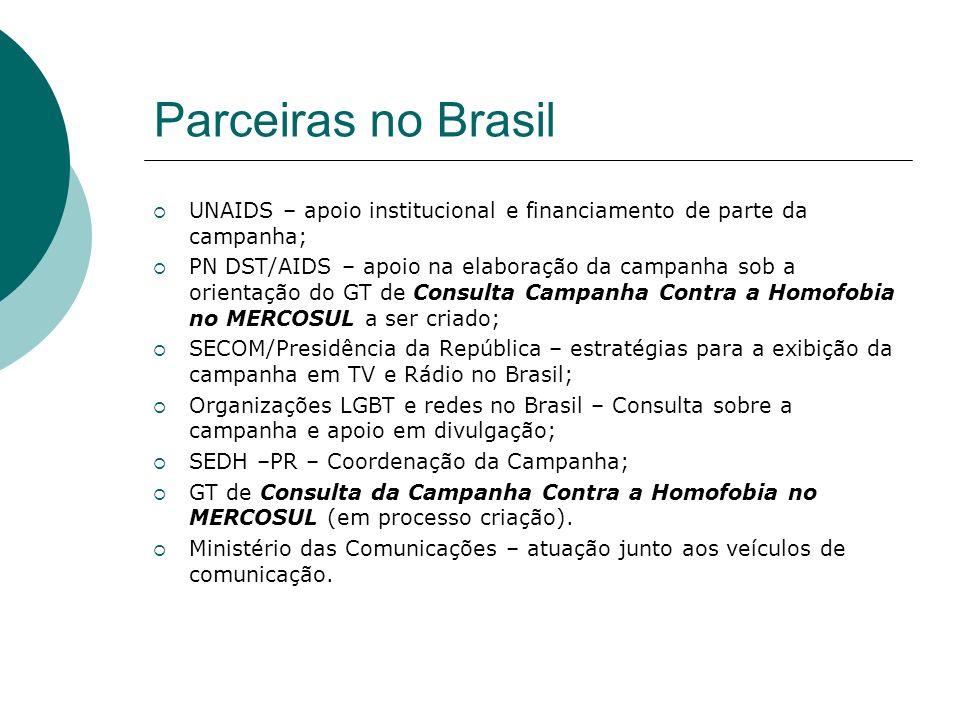 Parceiras no Brasil UNAIDS – apoio institucional e financiamento de parte da campanha;