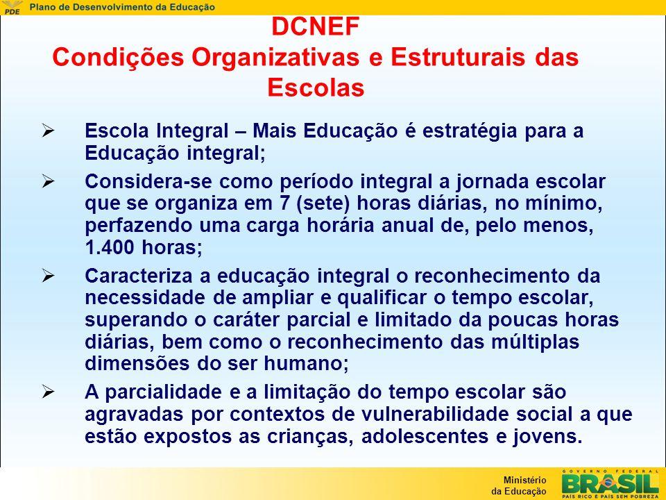 DCNEF Condições Organizativas e Estruturais das Escolas