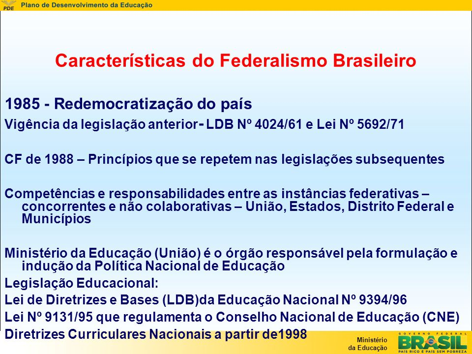 Características do Federalismo Brasileiro