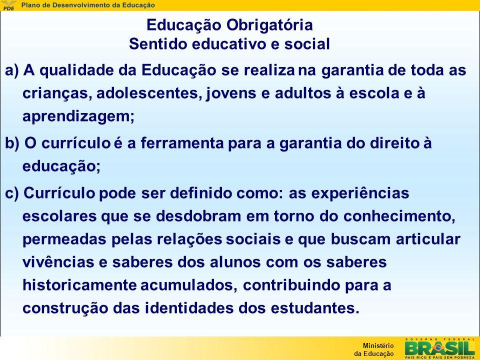 Educação Obrigatória Sentido educativo e social