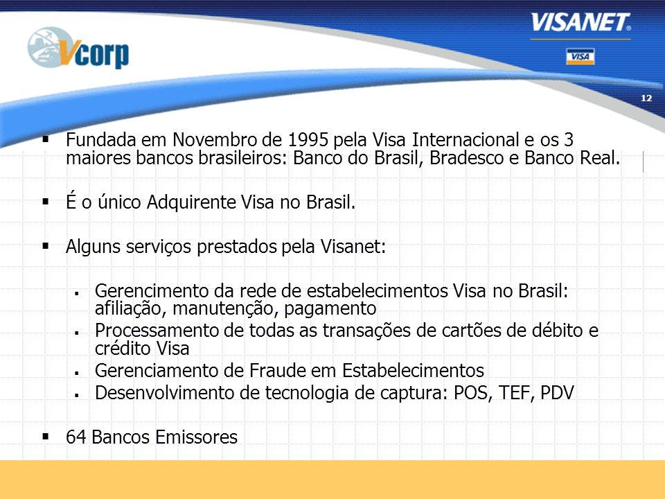 Fundada em Novembro de 1995 pela Visa Internacional e os 3 maiores bancos brasileiros: Banco do Brasil, Bradesco e Banco Real.
