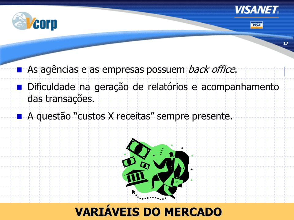 VARIÁVEIS DO MERCADO As agências e as empresas possuem back office.