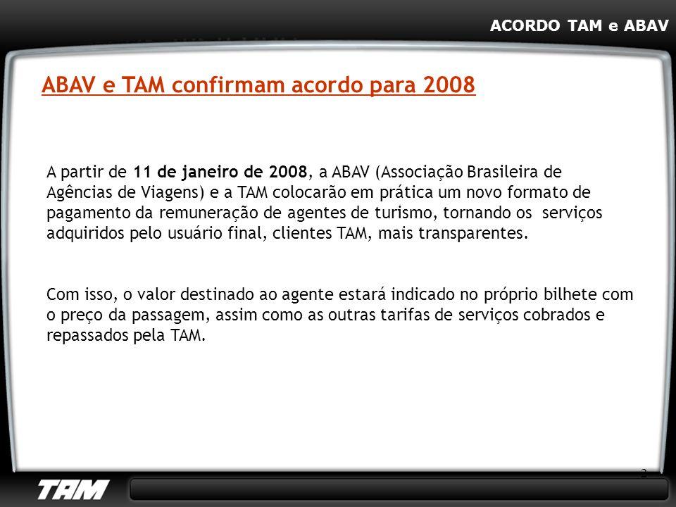ABAV e TAM confirmam acordo para 2008