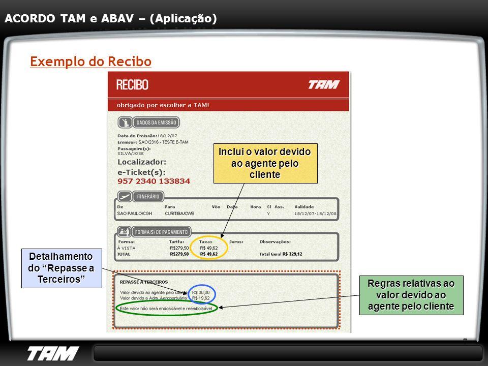 Exemplo do Recibo ACORDO TAM e ABAV – (Aplicação)