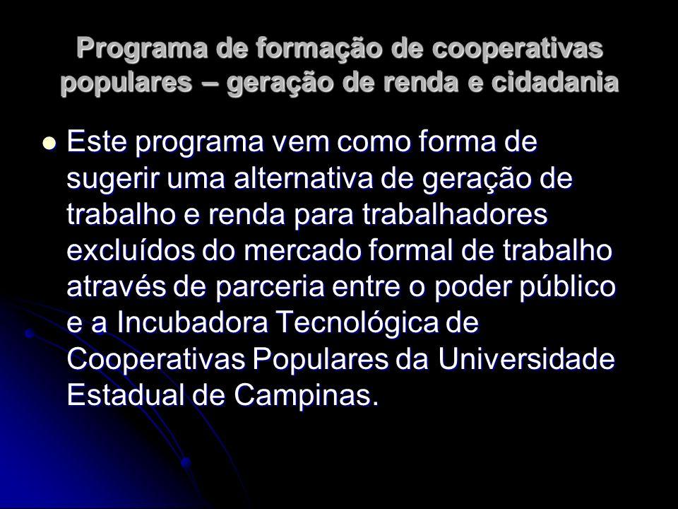 Programa de formação de cooperativas populares – geração de renda e cidadania