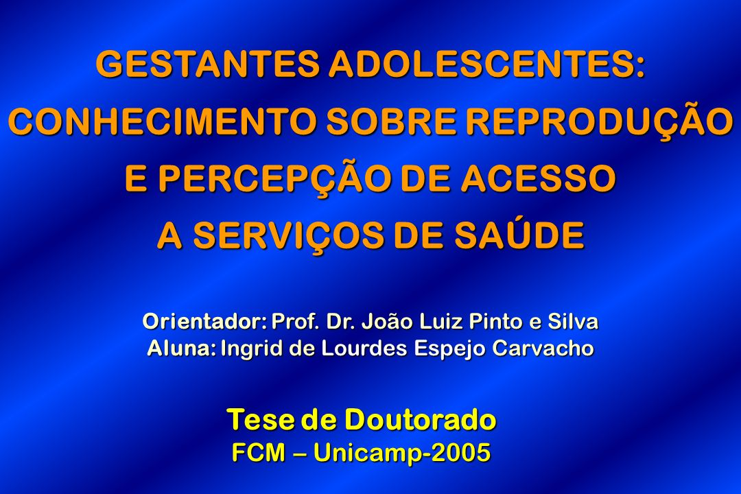GESTANTES ADOLESCENTES: CONHECIMENTO SOBRE REPRODUÇÃO E PERCEPÇÃO DE ACESSO