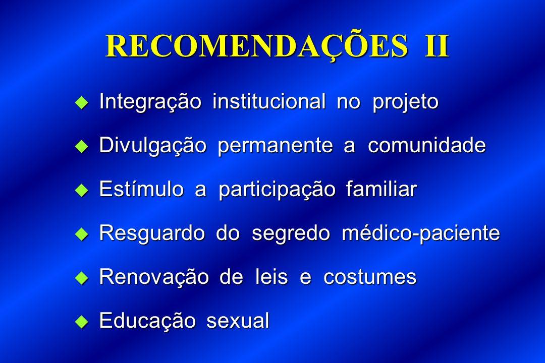 RECOMENDAÇÕES II Integração institucional no projeto