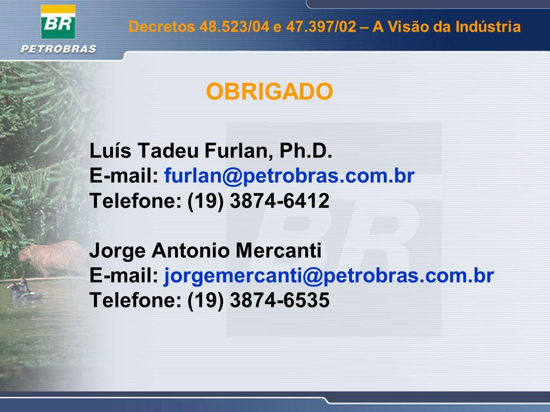 OBRIGADO Luís Tadeu Furlan, Ph.D. E-mail: furlan@petrobras.com.br