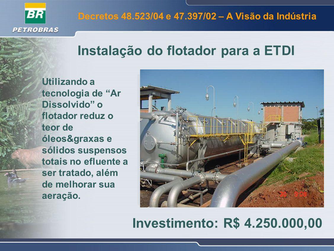 Instalação do flotador para a ETDI