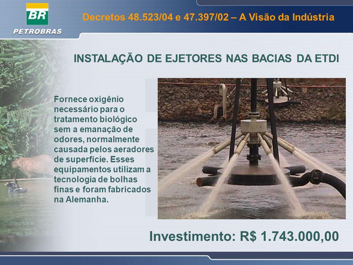 INSTALAÇÃO DE EJETORES NAS BACIAS DA ETDI
