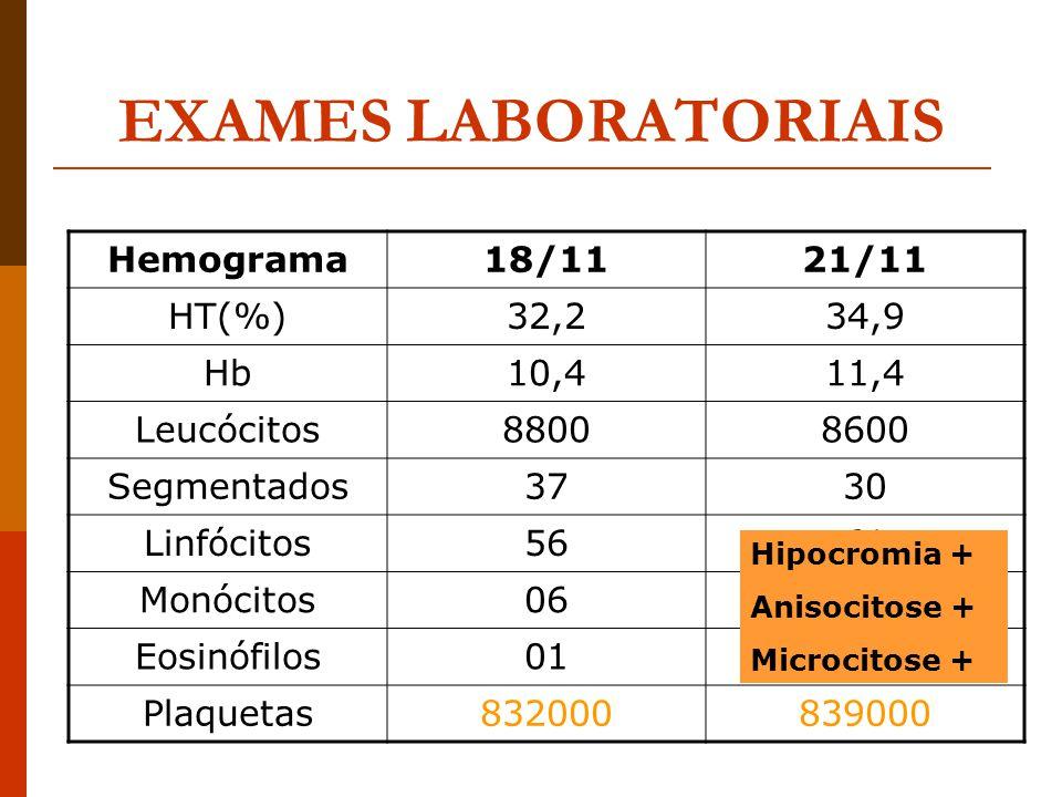Exames laboratoriais hemograma completo