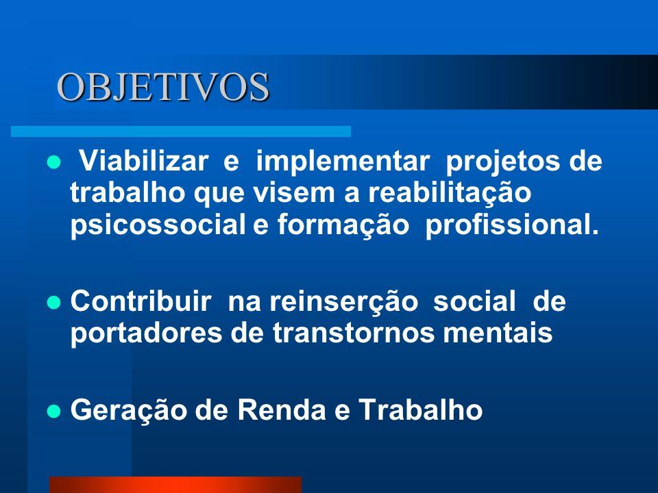 OBJETIVOS Viabilizar e implementar projetos de trabalho que visem a reabilitação psicossocial e formação profissional.