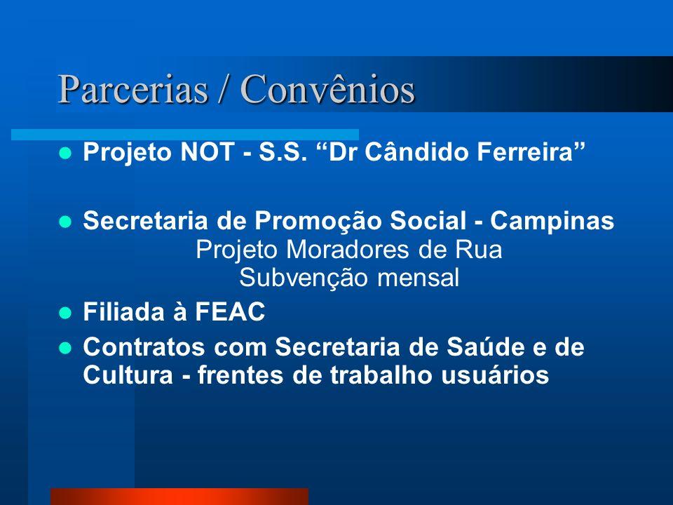 Parcerias / Convênios Projeto NOT - S.S. Dr Cândido Ferreira